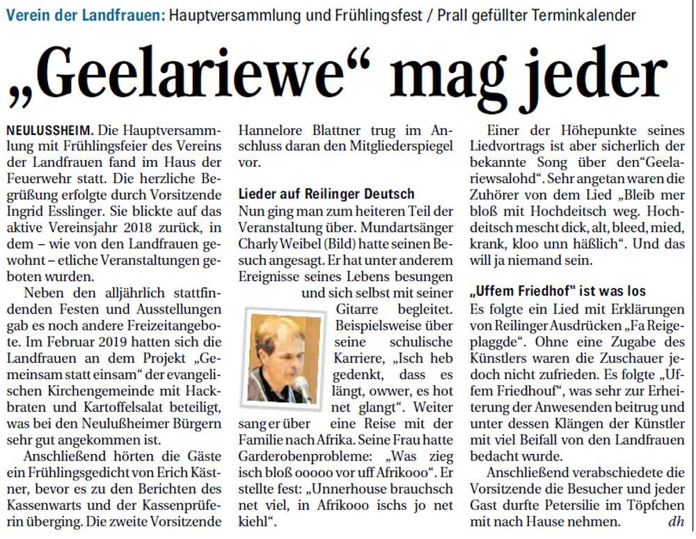 Presseartikel vom 20.04.2019 Schwetzinger Zeitung